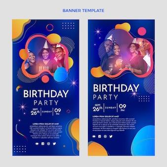 Gradientowe kolorowe urodzinowe pionowe banery