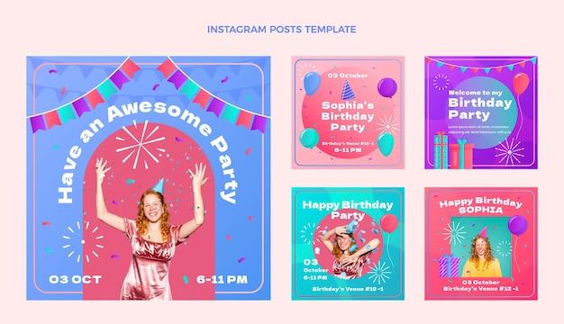 Gradientowe Kolorowe Urodziny Ig Post Darmowych Wektorów