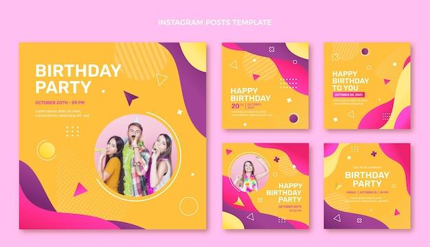 Gradientowe kolorowe urodziny ig post