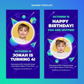 Gradientowe kolorowe urodziny pionowe banery