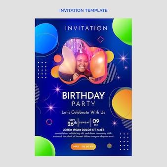 Gradientowe kolorowe zaproszenie na urodziny