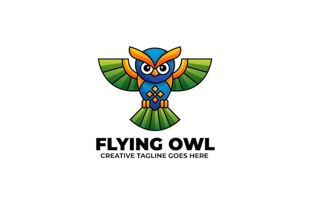 Gradientowe logo kolorowe latające sowy