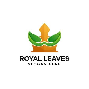 Gradientowe logo królewskie liście