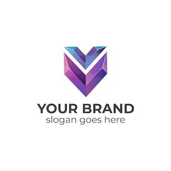 Gradientowe Logo Litery V I Tarczy Premium Wektorów