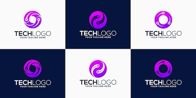 Gradientowe logo płaskie litery o kolekcja projektowa