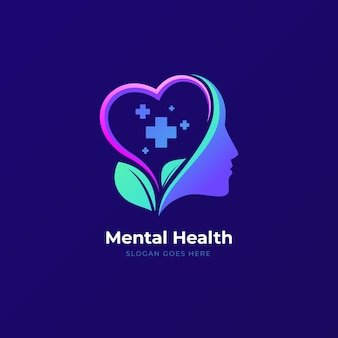 Gradientowe logo zdrowia psychicznego z hasłem