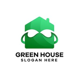Gradientowe logo zielonego domu