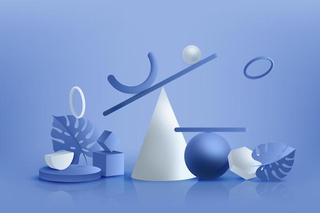 Gradientowe niebieskie tło 3d kształty geometryczne