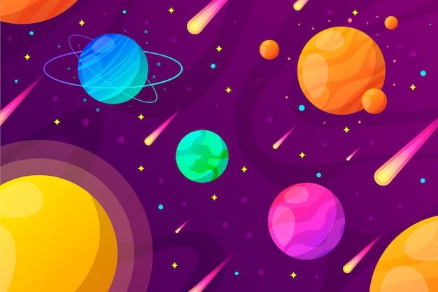 Gradientowe planety galaktyki tło