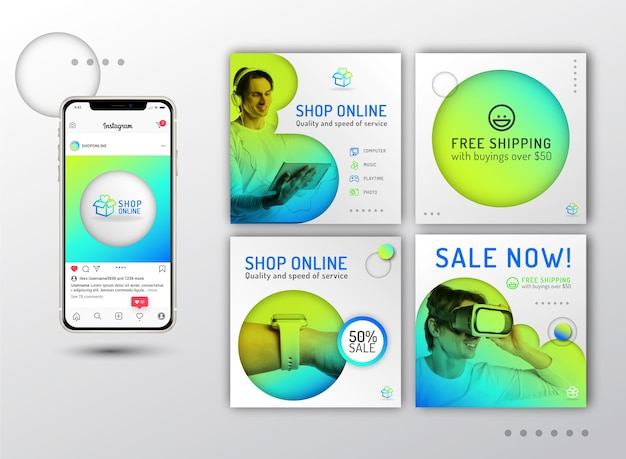 Gradientowe posty na instagramie zakupów online