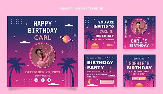 Gradientowe posty urodzinowe na instagramie retro vaporwave