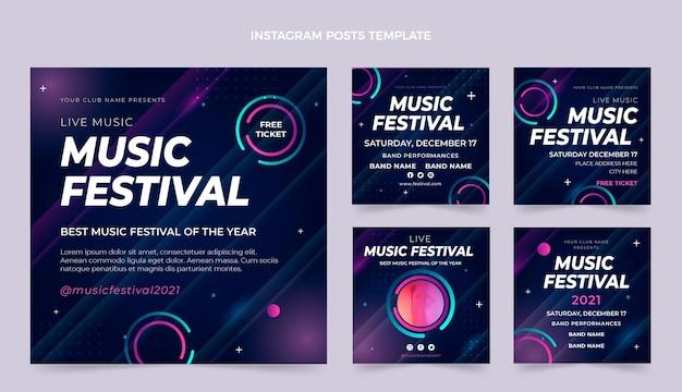 Gradientowe posty z festiwalu muzyki kolorowej na instagramie