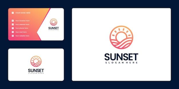 Gradientowe proste logo liniowe zachodu słońca