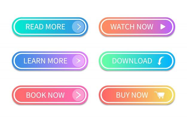 Gradientowe przyciski akcji. przyciski w nowoczesnym stylu.