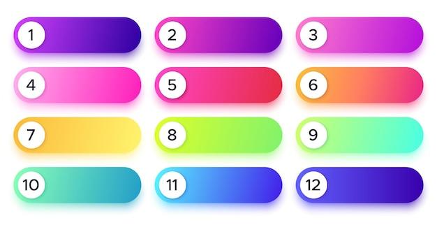 Gradientowe przyciski z numerami w różnych kolorach. okrągłe punkty