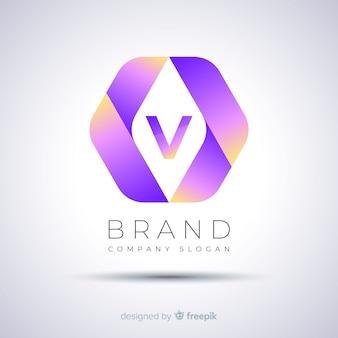 Gradientowe streszczenie szablon sześciokątne logo