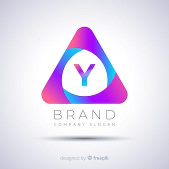 Gradientowe streszczenie trójkątne logo szablon