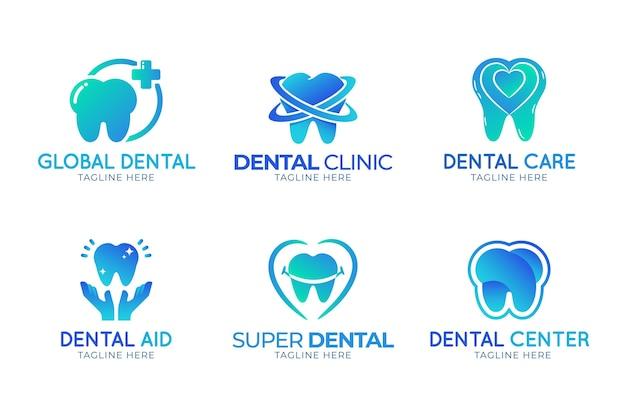 Gradientowe szablony logo dentystycznego