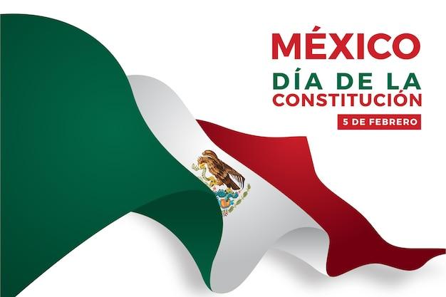 Gradientowe tło dzień konstytucji z meksykańską flagą