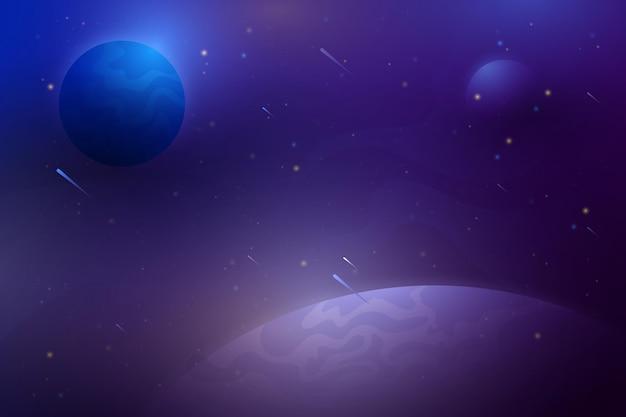 Gradientowe tło galaktyki z planetami