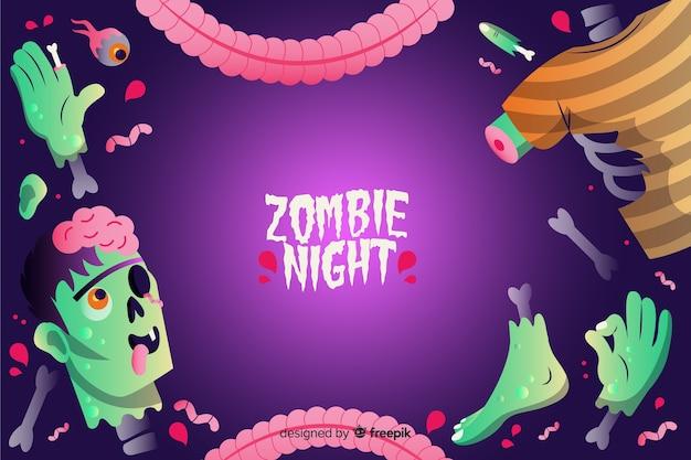Gradientowe tło halloween zombie