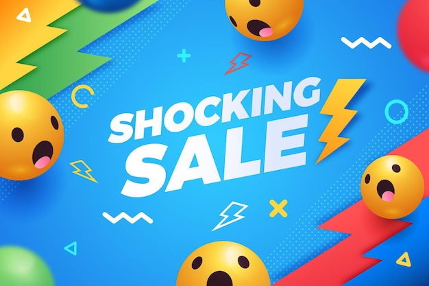 Gradientowe tło sprzedaży z reakcją emoji
