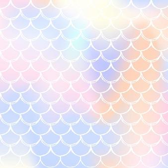 Gradientowe tło syrenka z holograficznymi skalami. jasne przejścia kolorów. opalizujące tło z gradientową syrenką.