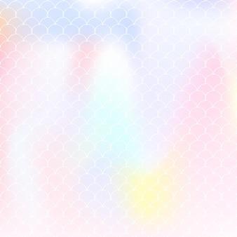 Gradientowe tło syrenka z holograficznymi skalami. jasne przejścia kolorów. transparent ogon ryby i zaproszenie. podwodny i morski wzór na dziewczęcą imprezę. tło widma z syreną gradientu.
