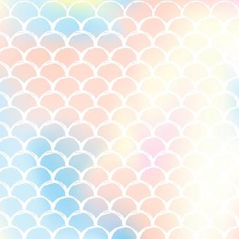 Gradientowe tło syrenka z holograficznymi skalami