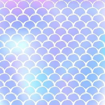 Gradientowe tło w skali z holograficzną syrenką. jasne przejścia kolorów. transparent ogon ryby i zaproszenie. podwodny i morski wzór na dziewczęcą imprezę. futurystyczne tło ze skalą gradientu.