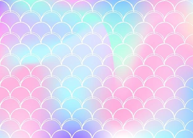 Gradientowe tło w skali z holograficzną syrenką. jasne przejścia kolorów. transparent ogon ryby i zaproszenie. podwodny i morski wzór na dziewczęcą imprezę. kolorowe tło ze skalą gradientu.