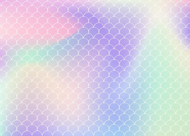 Gradientowe tło w skali z holograficzną syrenką. jasne przejścia kolorów. transparent ogon ryby i zaproszenie. podwodny i morski wzór na dziewczęcą imprezę. modne tło ze skalą gradientu.