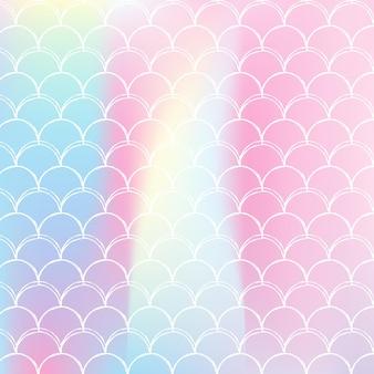 Gradientowe tło w skali z holograficzną syrenką. jasne przejścia kolorów. transparent ogon ryby i zaproszenie. podwodny i morski wzór na dziewczęcą imprezę. perłowe tło ze skalą gradientu.