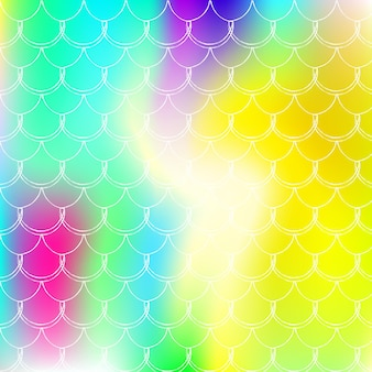Gradientowe tło w skali z holograficzną syrenką. jasne przejścia kolorów. transparent ogon ryby i zaproszenie. podwodny i morski wzór na dziewczęcą imprezę. stylowe tło ze skalą gradientu.