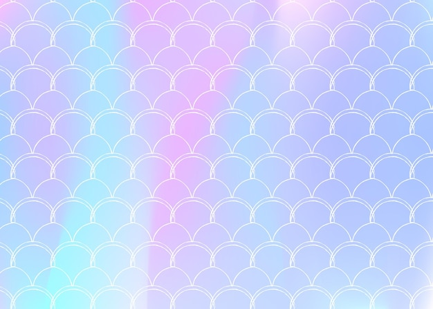 Gradientowe tło w skali z holograficzną syrenką. jasne przejścia kolorów. transparent ogon ryby i zaproszenie. podwodny i morski wzór na dziewczęcą imprezę. wielokolorowe tło ze skalą gradientu.