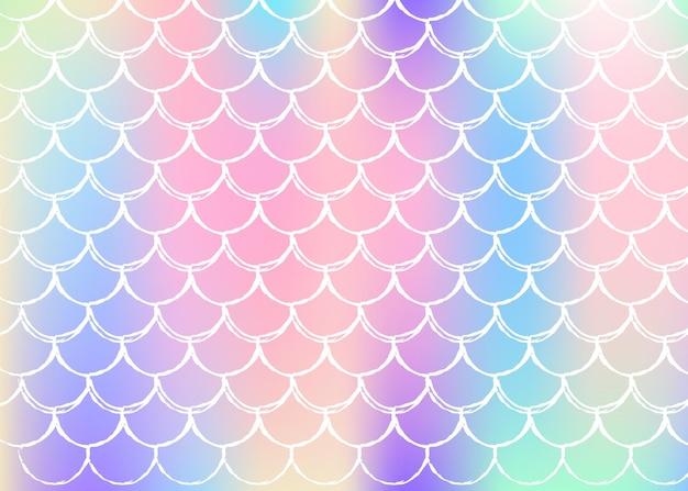 Gradientowe tło w skali z holograficzną syrenką. jasne przejścia kolorów