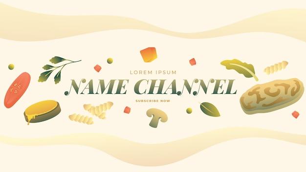 Gradientowe wegetariańskie jedzenie na kanale youtube sztuka
