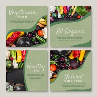 Gradientowe wegetariańskie posty na instagramie