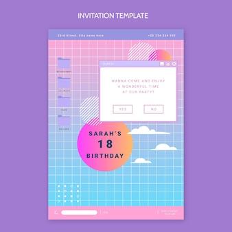 Gradientowe zaproszenie na urodziny vaporwave