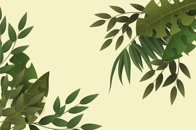 Gradientowe zielone liście powiększają tło