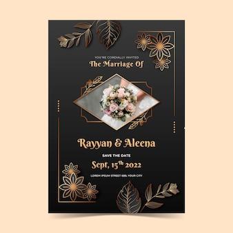 Gradientowe złote luksusowe muzułmańskie zaproszenie na ślub
