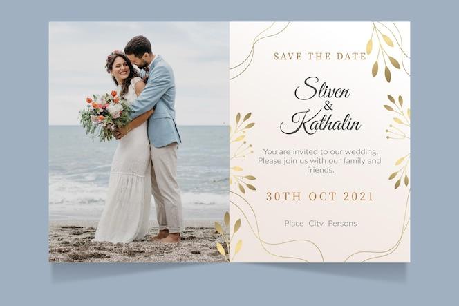 Gradientowe złote luksusowe zaproszenie na ślub ze zdjęciem