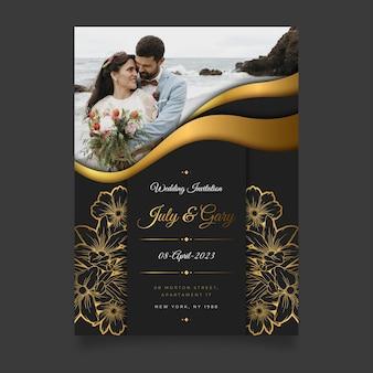 Gradientowe Złote Luksusowe Zaproszenie Na ślub Ze Zdjęciem Darmowych Wektorów