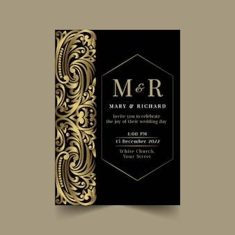 Gradientowe złote luksusowe zaproszenie na ślub