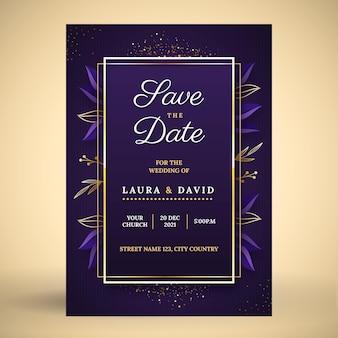 Gradientowe Złote Luksusowe Zaproszenie Na ślub Darmowych Wektorów