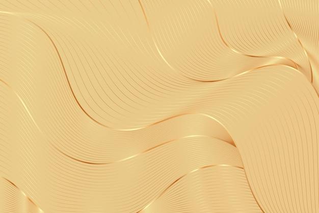 Gradientowe złote tło liniowe z abstrakcyjnymi beżowymi falami