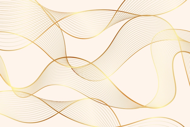 Gradientowe złote tło liniowe z abstrakcyjnymi przezroczystymi falami