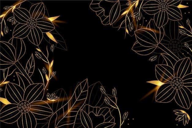 Gradientowe złote tło liniowe z kwiatami