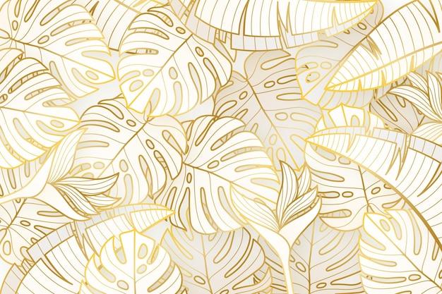 Gradientowe złote tło liniowe z liśćmi monstera deliciosa