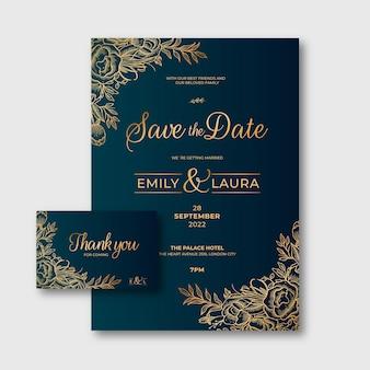 Gradientowe złote zaproszenie na ślub kwiatowy